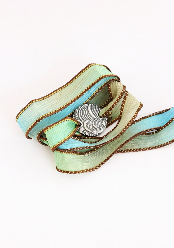 Wave Silk Ribbon Bracelet Coastal Beach Jewelry  PMC Fine Silver eco friendly reclaimed silver Aqua Khaki