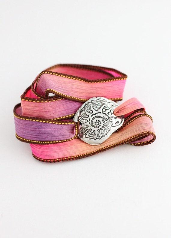 Beach Jewelry Shell Silk Ribbon Bracelet Fine Silver Eco Friendly Precious Metal Clay Bracelet Pink by BlueSailStudios