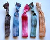Dovetails Essentials Hair Tie Package. 5 Tie Dye Elastic Hair Ties.