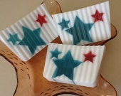 Patriotic, Red White and Blue, Stars, JULY FOURTH SOAP