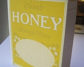 Comb Honey Box, Always Pure, Made in USA, Beautiful Bee Graphic