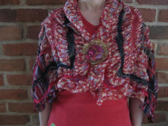 Red burgundy nuno felt silk wool flower shawl wrap scarf with felt brooch