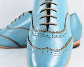 MARCUE - Women's - Handmade Leather Shoes - Light Blue Double Brogues