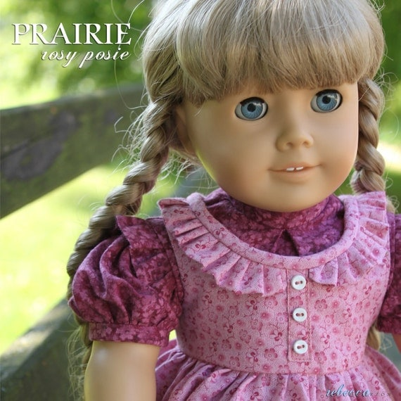 """Reserved Listing for Chris: Dress """"Prairie Rosy Posie"""" 1850s style dress made for 18"""" American Girl dolls"""