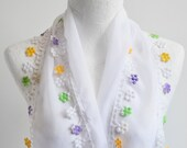 ESE - White Scarf, Cotton Scarf, Lace Edge Scarf, 56x9 inch, Summer Scarf, Spring Scarf