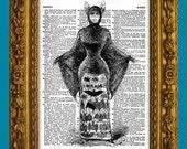 Bat Woman Costume Antique Halloween Illustration dictionary page book art print No. 276