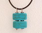 Turquoise Gemstones Necklace - Handmade Blue Turquoise Necklace - Modern Brown Leather Necklace - Blue Pendant