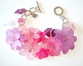 Pink Bracelet - Handmade Women Bracelet - Flower Charms Bracelet - Silver Purple Pink Violet White Colour
