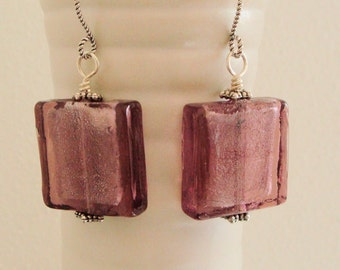 Lampwork Earrings - Purple Earrings - Purple Glass with Silver Inside - Square earrings - Sterling Silver