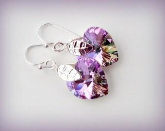 SALE Swarovski Crystal Earrings - Heart Crystal Pendant Earrings - Handmade AB Crystal Earrings in Silver