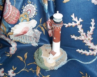 Sewing Supplies Vintage Cotton Seashell and Floral Fabric 1970s