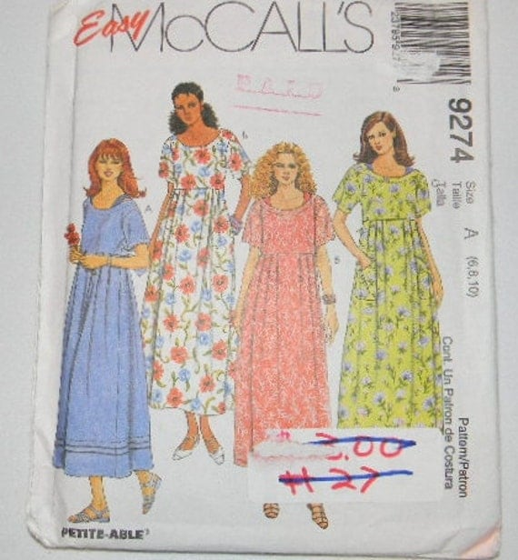 Uncut Easy McCalls Pattern 9274 Dress and Slip Size 6 8 10