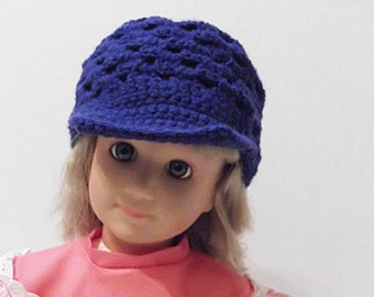 Baby Baseball Cap Summer Hat Sun Hat Crocheted Royal Blue Handmade Available in Team Colors