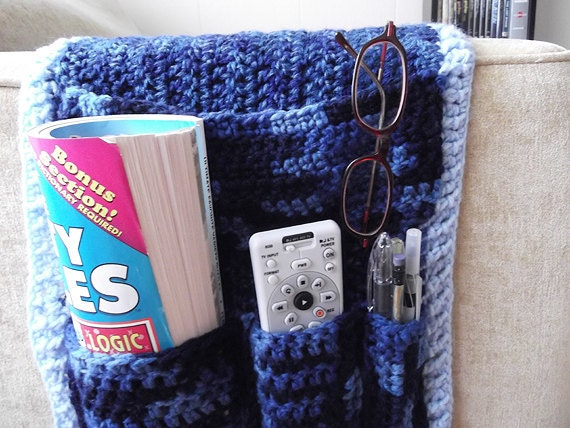 Blue Crochet Remote Caddy Organizer
