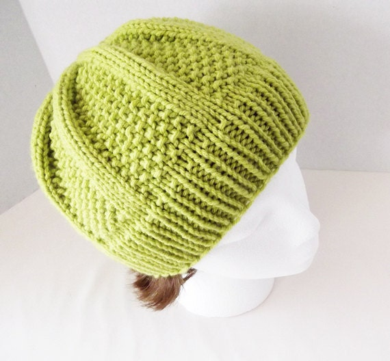 Hand Knit Beanie Lime Green Seed Stitch Skullcap Hat by Yarnettes