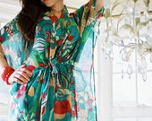 Limited edition. LANAI Cotton kaftan dress in blue green print. Hospital gown, lounge wear, beach cover up or summer dress.