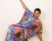 THE PEACOCK Long cotton kaftan maxi dress in a bold print. Lounge wear or summer dress. Great gift for her.
