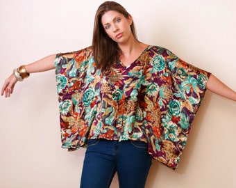 Limited edition. MAUI MIDNIGHT Satin kaftan top in floral print. Lounge wear or beach cover up. Great gift for her.