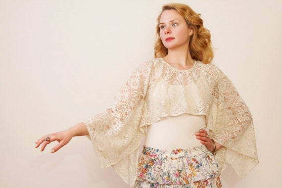 Dragonfly bolero or lace shrug. Lace cover up. Bohemian beach cover up.