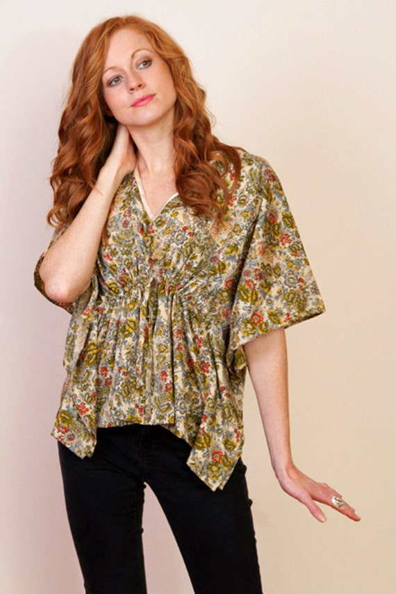 Limited edition. RYDER Crepe kaftan crop poncho top in floral print and empire waist. Great gift for her.