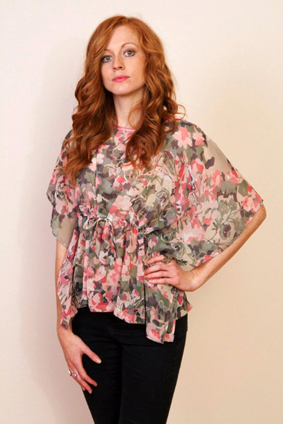 Limited edition. APRIL BLOSSOMS Chiffon kaftan cropped top in floral print and empire waist. Beach cover up.