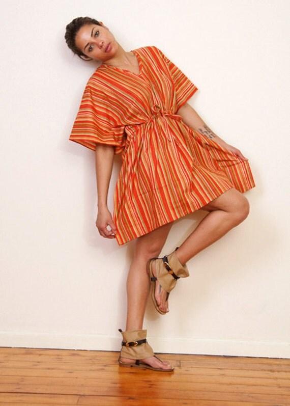 Limited edition. SUMMER STRIPES kaftan dress in an orange striped print. Lounge wear, beach cover up or summer dress.
