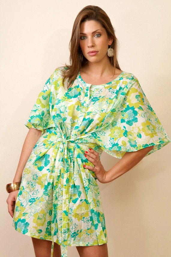 Limited edition. TEQUILA Button down Cotton kaftan dress. Bridesmaid getting ready robe, beach cover up or summer dress.