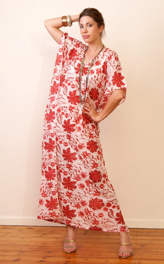 TEMPLE D'AMOUR Cotton kaftan maxi dress. Bridesmaids robe, summer or lounge wear. Great gift for her.