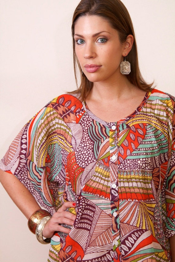 Limited edition. GAUDI Short button front kaftan dress. Lounge wear, beach cover up or summer dress gift for her.
