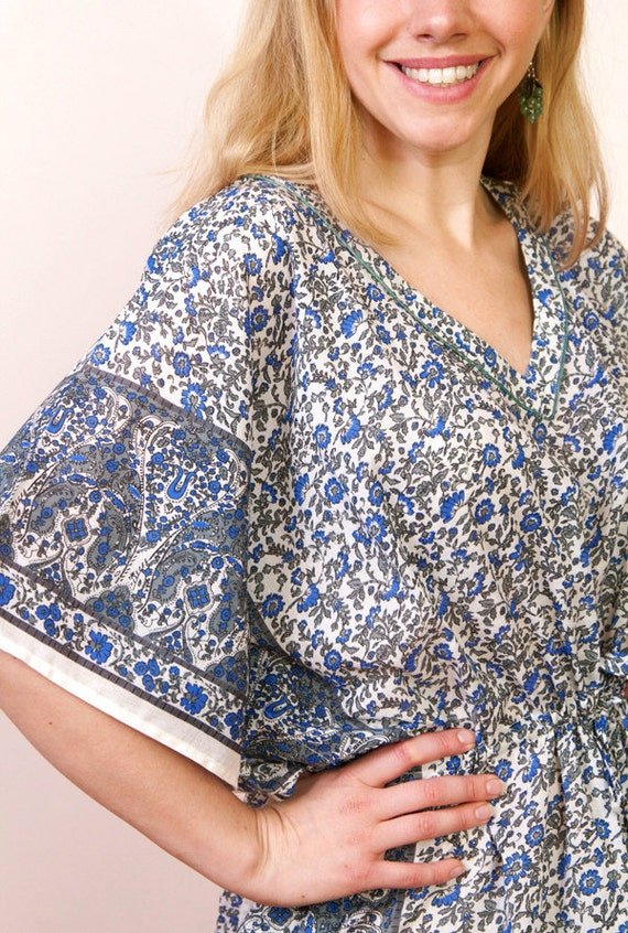 Limited edition. OASIS BLUE Cotton kaftan dress in blue green print. Hospital gown, lounge wear, beach cover up or summer dress.