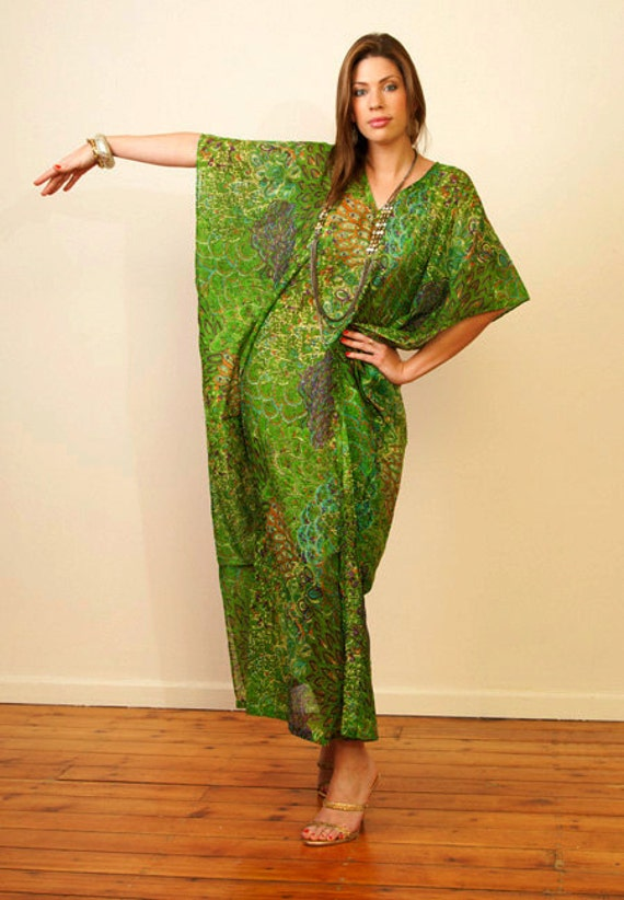 JAIPUR Long cotton kaftan maxi dress in a bold print. Lounge wear or summer dress. Great gift for her.
