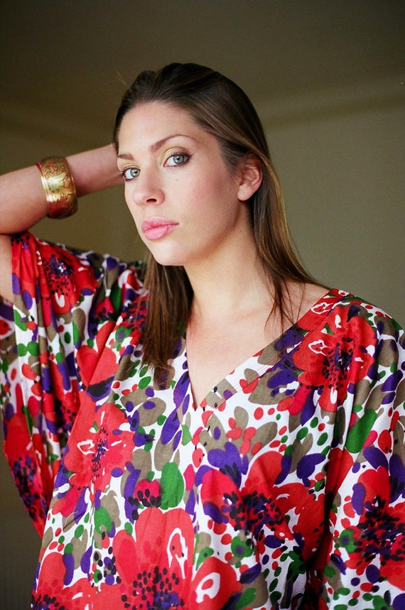 FLEUR GRANDE Cotton kaftan dress in a bold floral print.  Lounge wear, oversize dress or Maternity kaftan. Beach cover up.