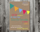 Custom bunting flag printable birthday invitation