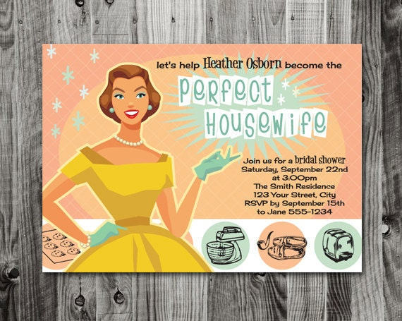 Retro Housewife Bridal Shower Invitations Yaseen For