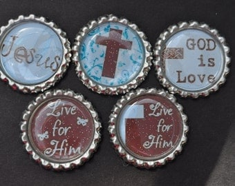 FInished Religious GLITTER bottlecaps--- Set of 5---For hairbows, jewelry, magnets, scrapbooks, picture frame-Bible school craft