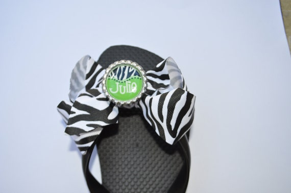 Personalized, custom interchangeable flip flop bows---great for bridal party, favors- zebra/limegreen, design your own unique flip flop