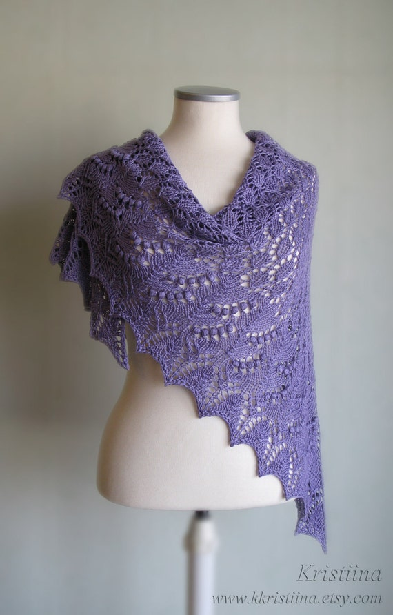 Purple hand knitted summer shawl with lace and nupps