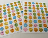 Set of 2 sheets Mini Smiley Face Stickers or 108 Stickers