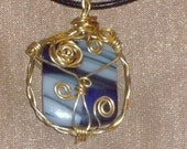 Wire Wrapped Fused Glass Pendant Necklace