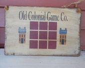Primitive Hand Stenciled Game Board