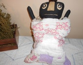 Primitive Big Black Baby Doll in Quilt Bunting Sacque