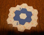 Primitive Vintage Cutter Quilt Candle Mat Doily - Blue Pink