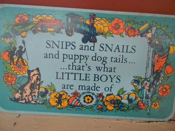 Child Nursery Rhyme Wall Plaque - Snips Snail Puppy Dog tails, Boys Made Of