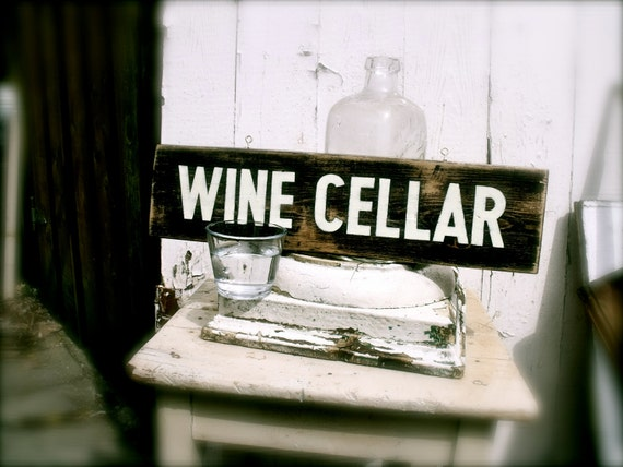 WINE CELLAR - Hand Painted Sign on Reclaimed Wood