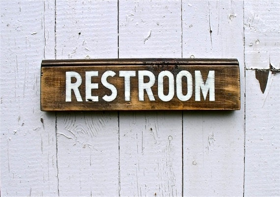 Hand Painted RESTROOM Sign on Salvaged Pine