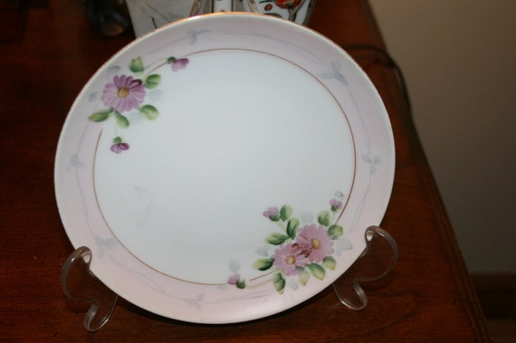 Vintage Bone China Occupied Japan Hand Painted Shabby Floral Plate