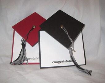 Mortar Board Graduation Cards - Pop Up - Customized Colors Available - College, High School, Middle School, Kindergarten December Graduation