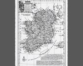 "Large Ireland Map 1747 - Drawn by Emanuel Bowen - Fine Paper Black Ink Print  (22.5"" x 17.5"")"