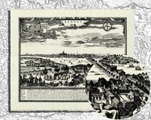"London Panorama 1694 - Fine Paper Black Ink Print - (10"" x 8"")"