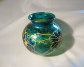 Hand painted emerald and gold vase
